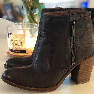 Lucky Brand Dark Chocolate Leather Booties